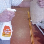 Hessian Fabric being treated with fire retardant spray.