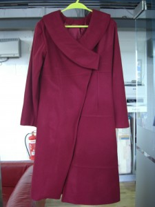Gown shape woman's long coat using Wool and Melton Fabric
