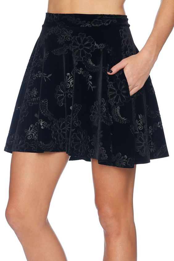 embossed velvet black skirt