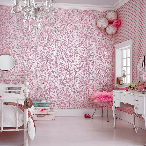 pink kids bedroom Flock wallpaper