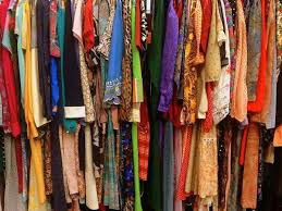 rack of vintage clothing