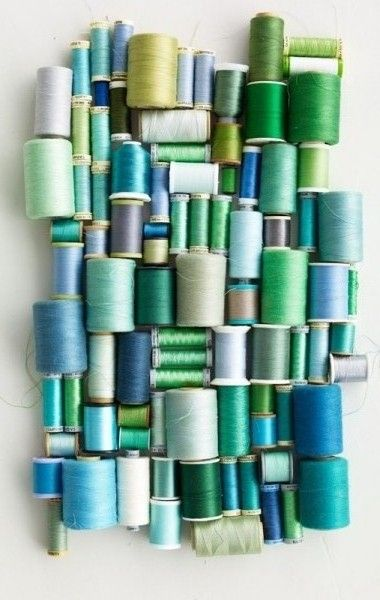 Blue and green thread