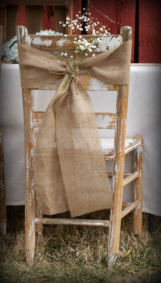 Hessian chair decoration