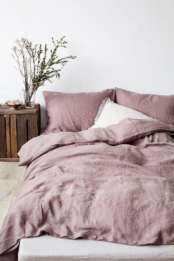 mauve linen bedcovers
