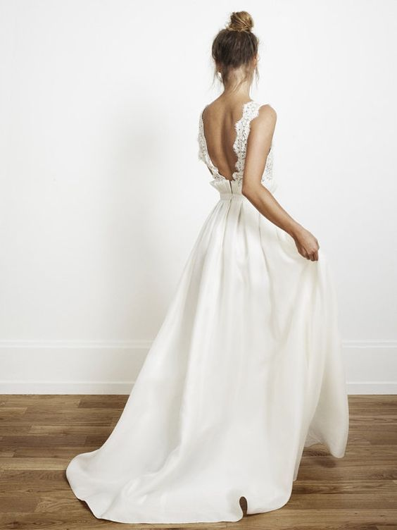 Taffeta white wedding gown