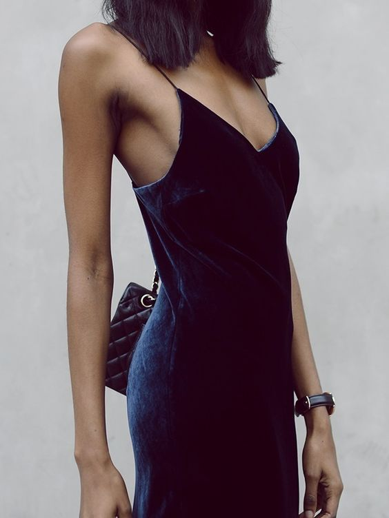 Navy elegant velvet dress