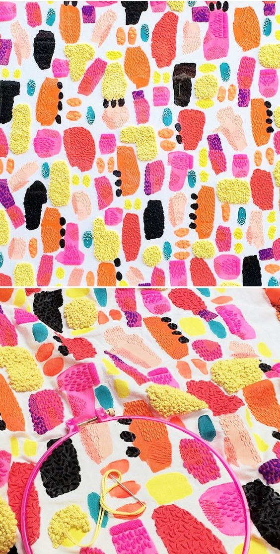 Colourful painted and sewn fabric