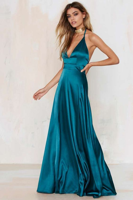 Blue long satin dress