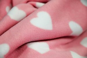 pink and white heart fleece fabric