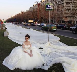 Longest wedding gown train fabric