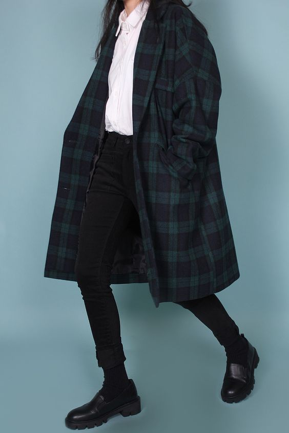 Black watch tartan check coat
