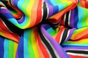 rainbow and silver Lycra fabric