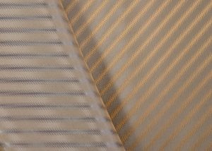 Italian jacquard fabric beige and copper stripe