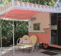 pink white caravan