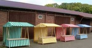 coloured striped stalls