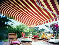 red and cream awning fabric
