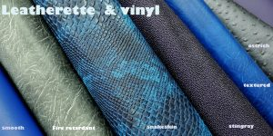 blue leatherette and vinyl fabric