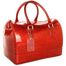 red glitter vinyl bag