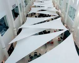 white stretch triangles canopies