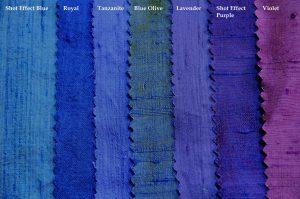 purples and blues dupion silk fabric