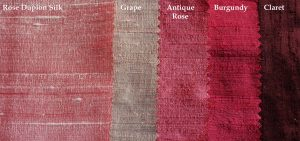 dusky to dark pinks dupion silk fabric