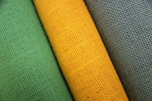 GREY GREEN YELLOW BURLAP HESSIAN JUTE FABRIC