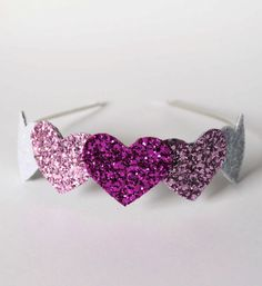 glitter heart hairband