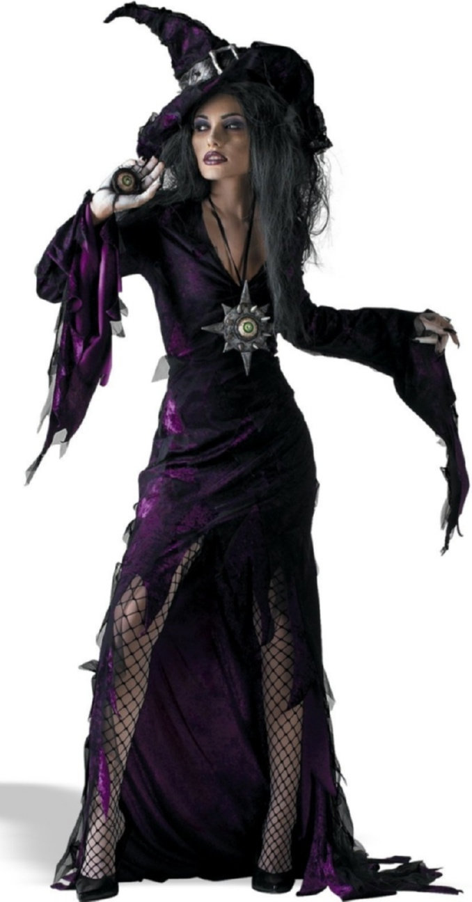voile witches outfit proper scary witch voodoo witch ragged purple witch