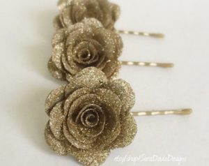 gold rose clips