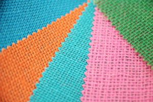 bright colours of hessian fabric
