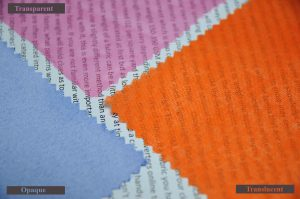 opaque translucent and transparent fabric