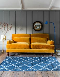 mustard yellow velvet sofa