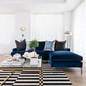 contemporary navy blue corner sofa