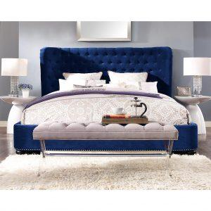 dark blue velvet bed