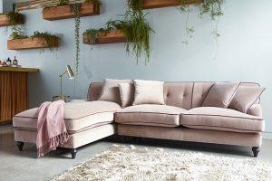 soft pink velvet sofa