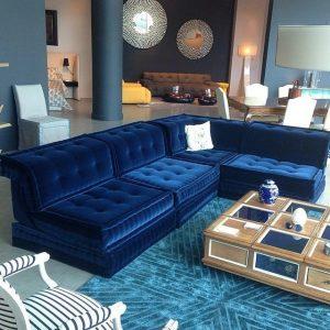 dark blue velvet fabric corner sofa