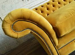 mustard yellow velvet chaise longue