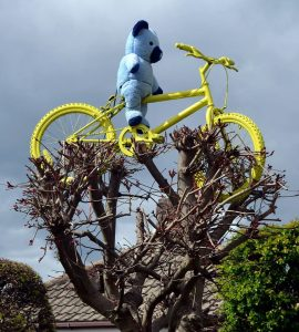 yellow bike blue bear