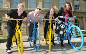 Yorkshire council blue and yellow bikes