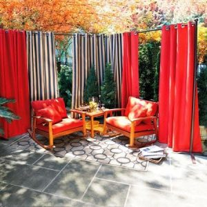 outdoor red garden curtains