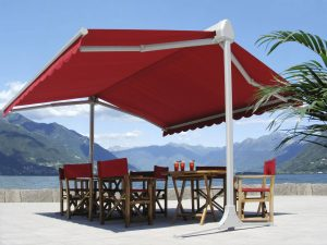 large red canopy shade