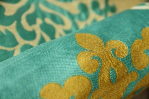curtain upholstery fabric aqua gold