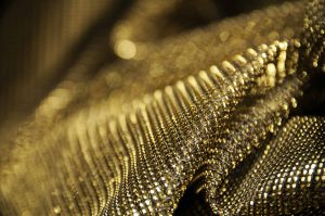 close up detail of gold lurex fabric