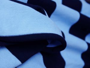 wide stripe sky and navy tubular jersey fabric