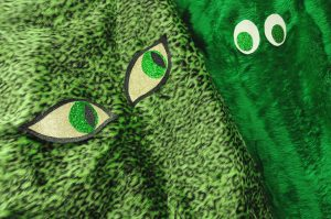 green leopard print faux fur monster