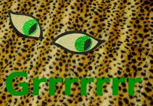cheetah print fabric with glitter eyes