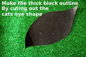 black outline of cats eye glitter fabric