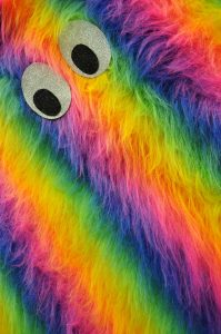 rainbow faux fur monster