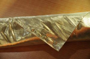 Furoshiki with gold lame rolling