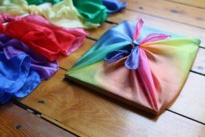 rainbow organza Furoshiki wrap